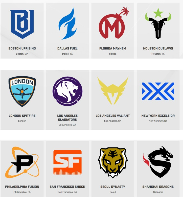 OverwatchLeague Original 12 Teams